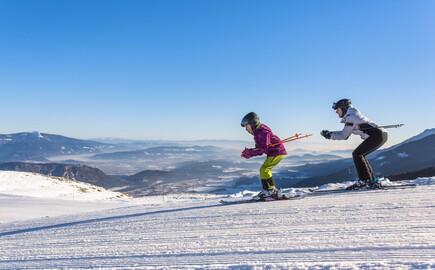 Zwei Skifahrer sausen nahe dem Hotel mit Kärnten-Card den Berg hinunter