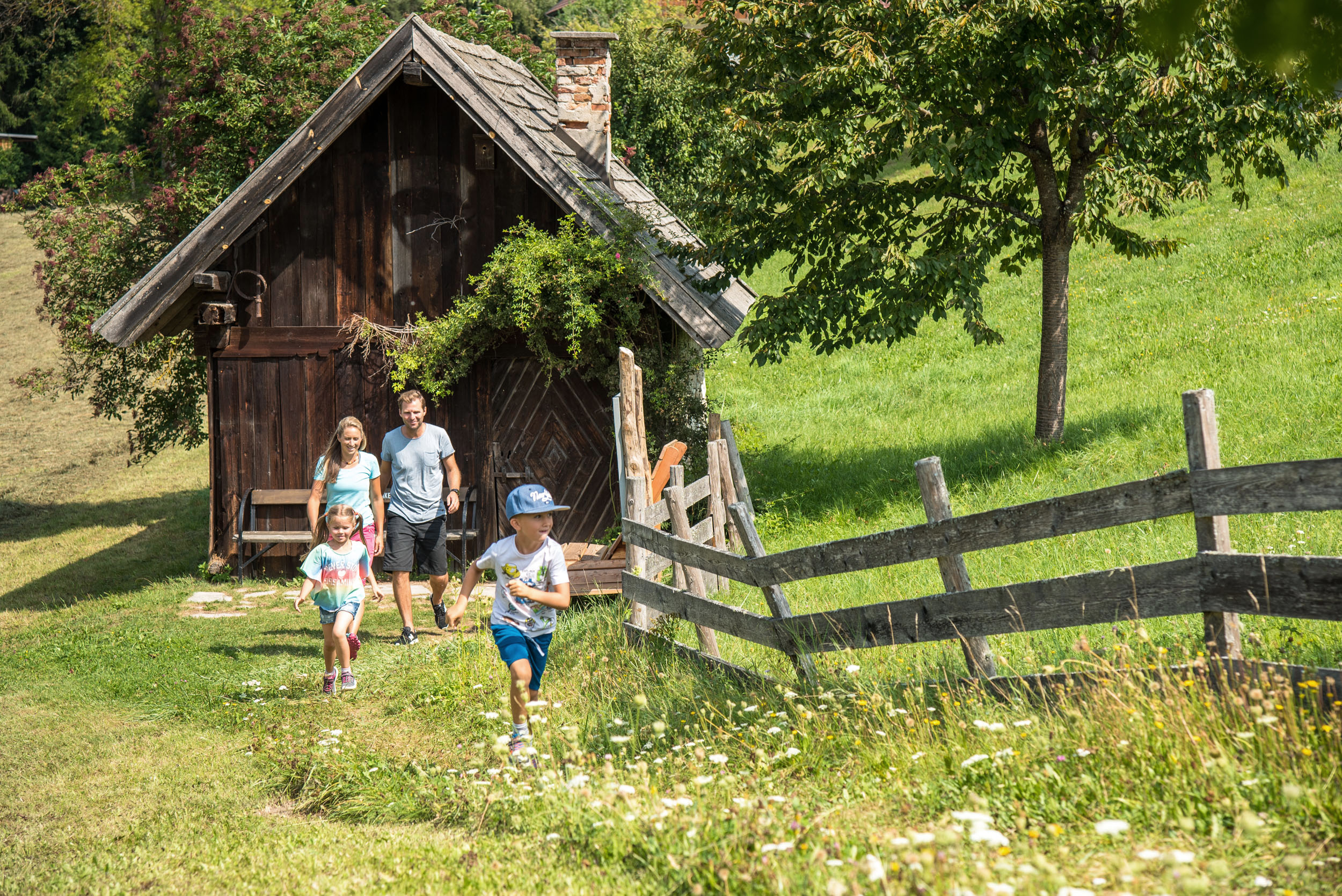 Eltern wandern mit ihren zwei Kindern über saftig grüne Wiesen in Kärnten
